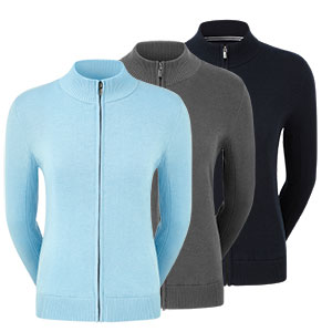 FootJoy Womens Full Zip Lined Wool Blend Pullover